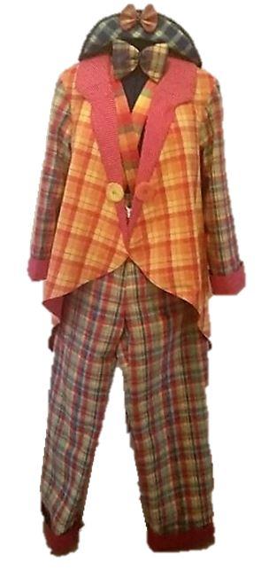 Clownskostüm  Bunt kariertes Clownskostüm. Vierteilig. Bestehend aus Clownsmütze, Fliege, Jacke und Hose.